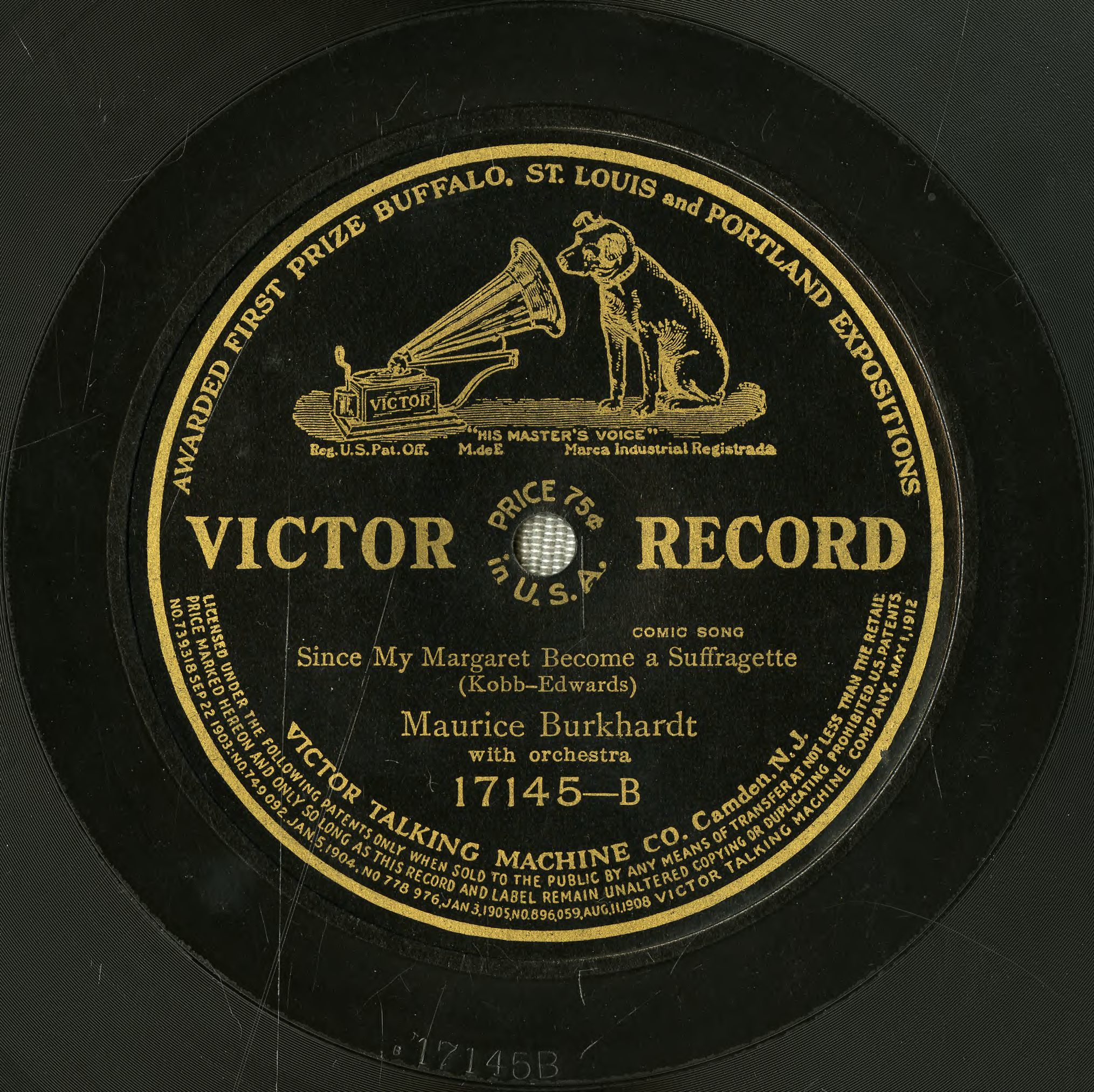 78 Victor Record of Since my Margaret become a suffragette