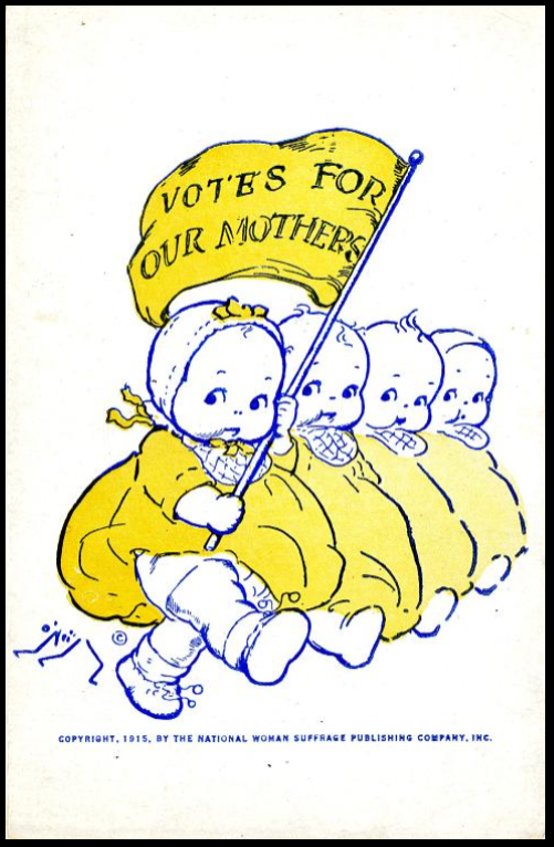 The National American Woman Suffrage Association began a postcard campaign in 1910, partly to raise awareness of the cause and partly as a fundraiser. The cards could be funny, serious, or sentimental. Some employed powerful patriotic symbols and logical arguments to make their case for woman's right to vote.