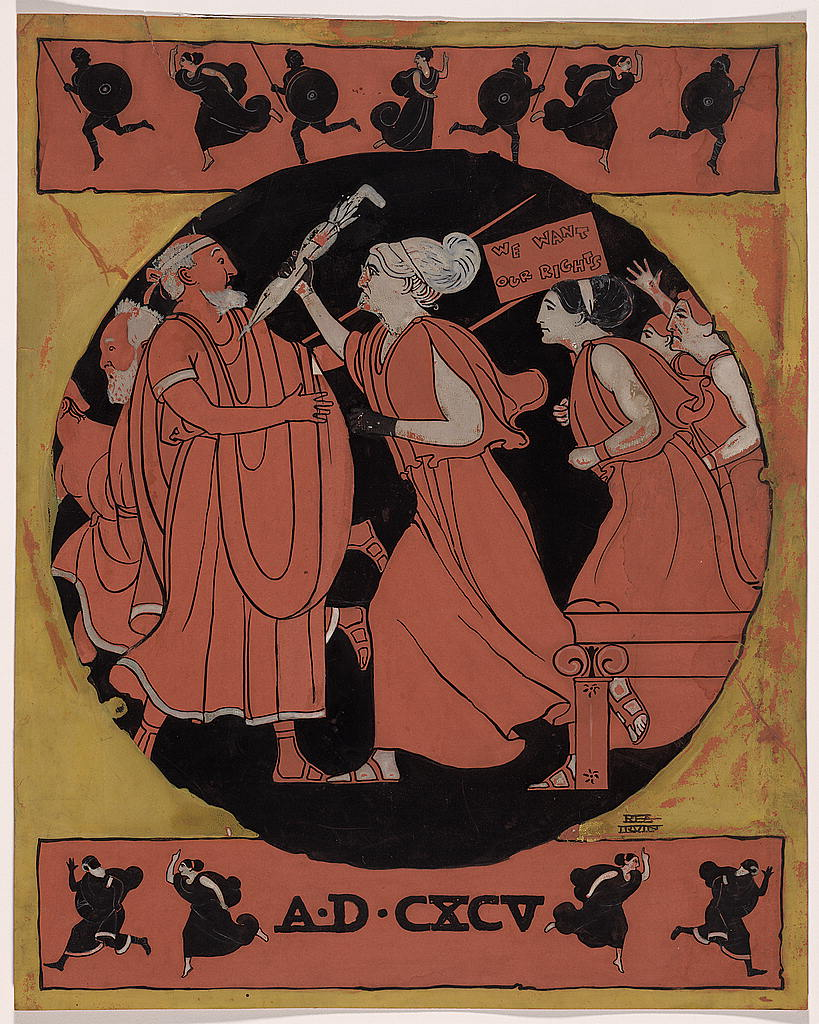 """Single panel cartoon, drawn in the style of the decoration on a Greek vase, shows Susan B. Anthony, clad in flowing garments, poking a startled man in the chest with an umbrella. She is followed by other women, one carrying a sign reading, """"We Want Our Rights."""""""
