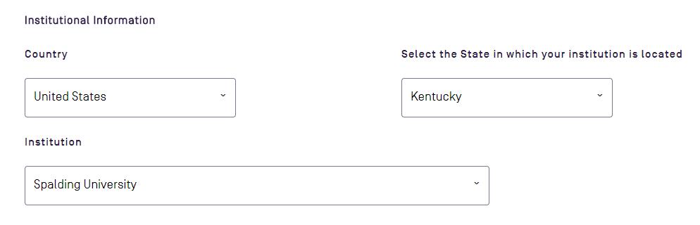 Institutional information portion of sign up form