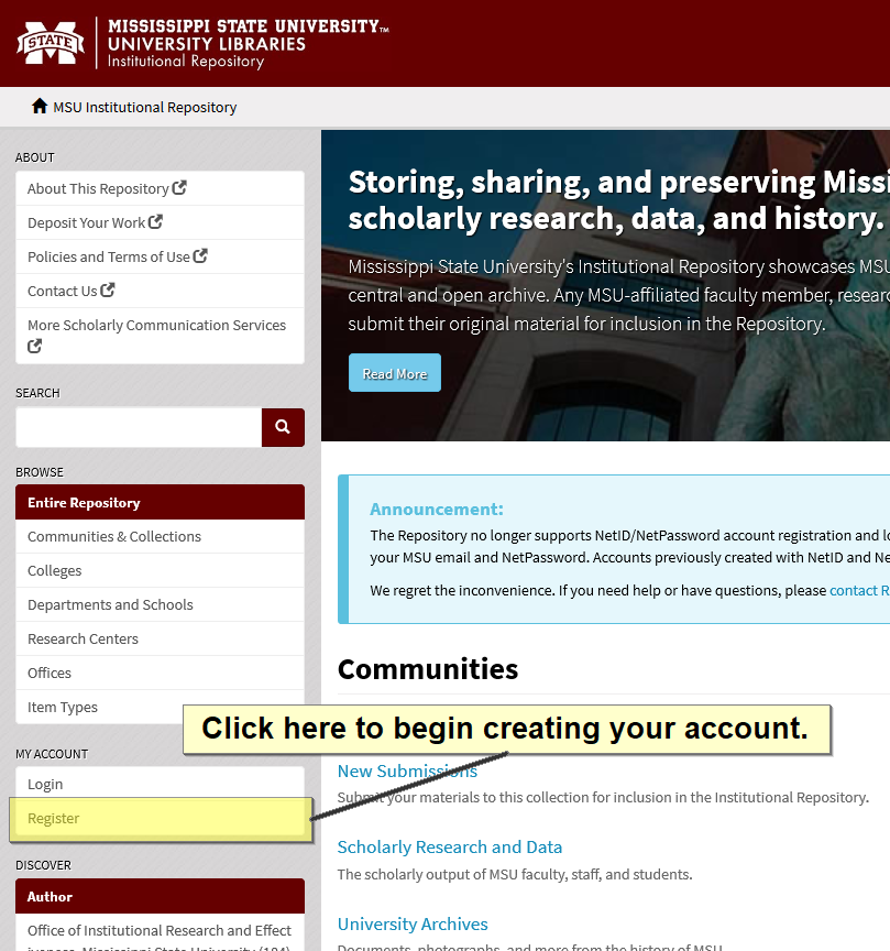 Screenshot showing where to click to begin registering an account in the MSU IR.