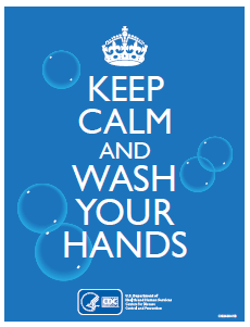 "poster that says ""Keep calm and wash your hands"""