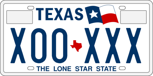 image of a Texas license plate