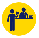 icon of a person checking out a library book at a desk