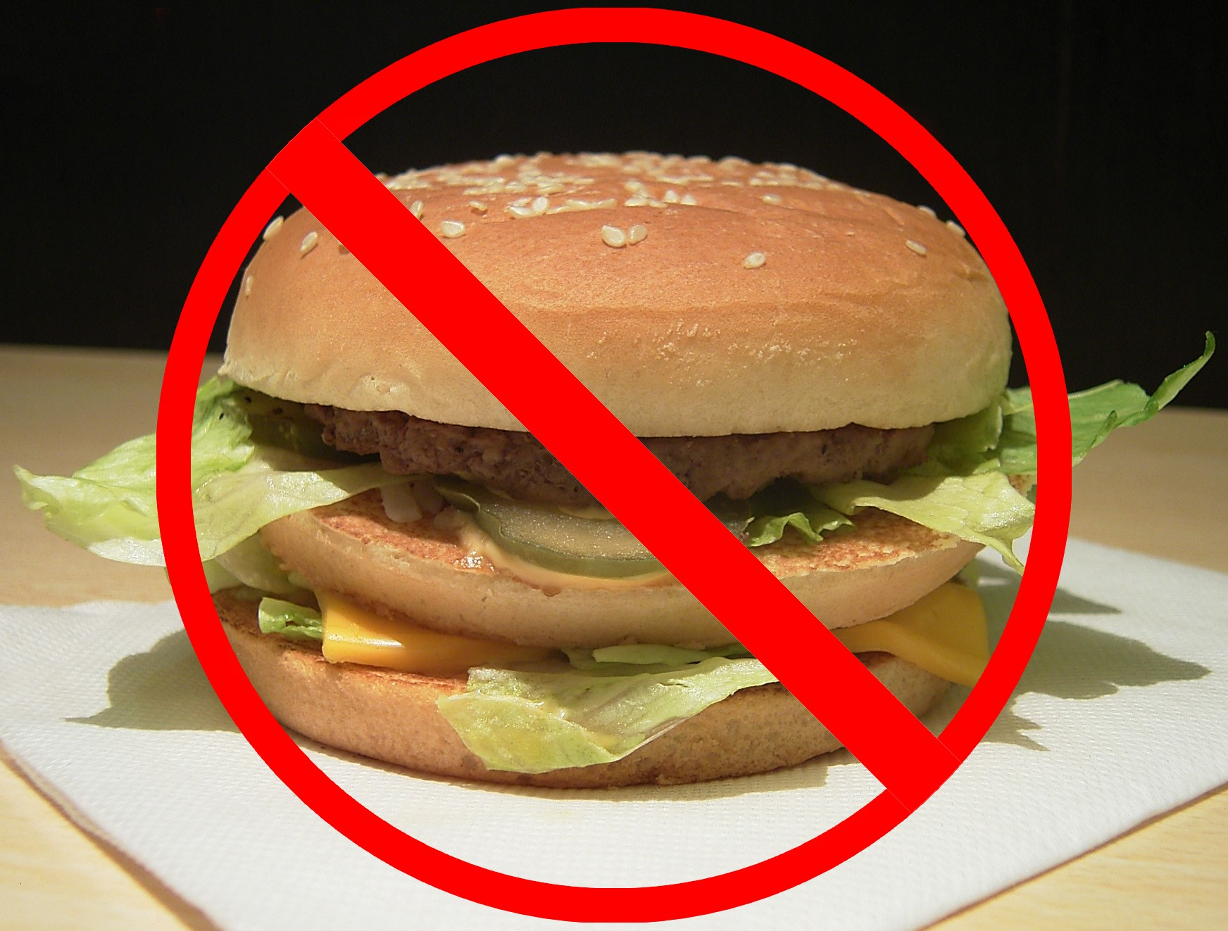 photo of hamburger under red crossed-out symbol