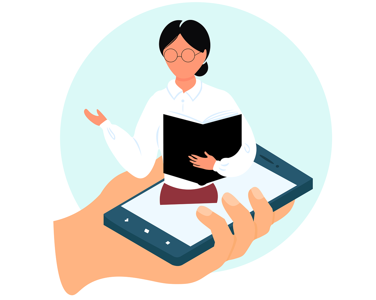 icon of student rising out of smartphone