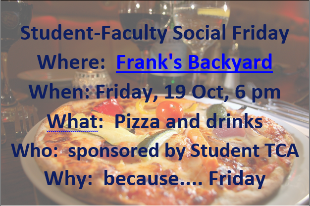 announcement of student-faculty pizza event