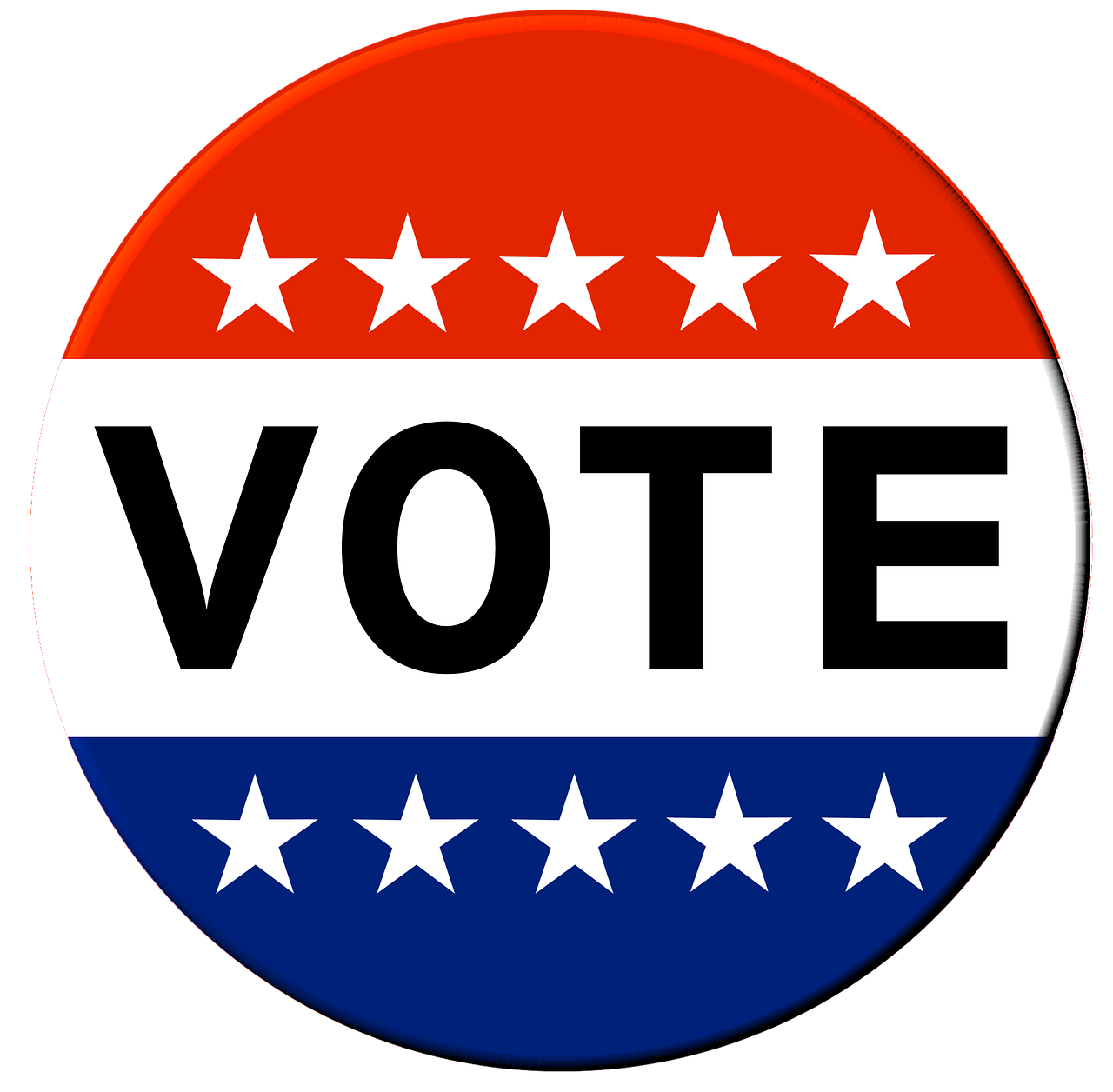 red, white, and blue button reading VOTE