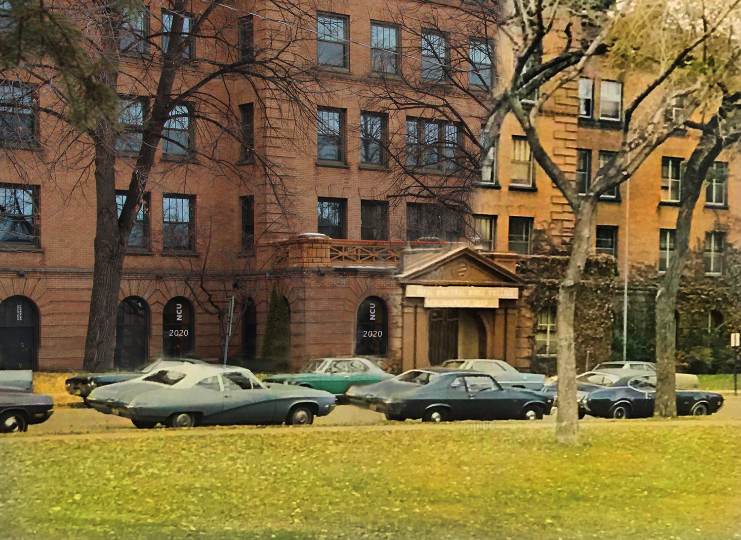 Digital photo art by Madi Olejnicak of Miller Hall 1970's. Art titled Yesterday, today, and forever.