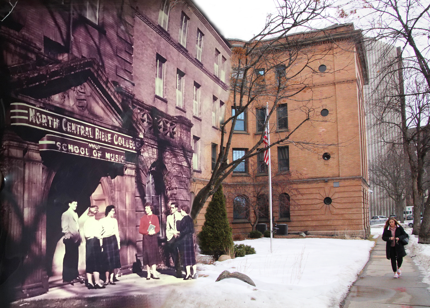 Digital photo art by Madi Olejnicak of Miller Hall 1950's. Art titled Yesterday, today, and forever.