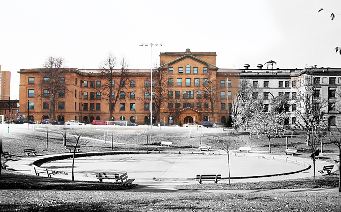 Digital photo art by Madi Olejnicak of Asbury Hospital 1920's. Art titled Yesterday, today, and forever.