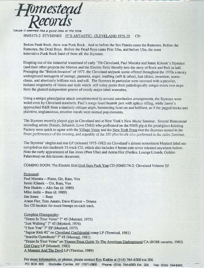 Styrenes press release