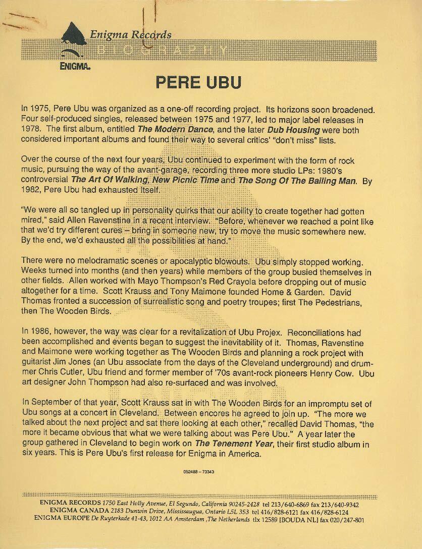 Pere Ubu press release