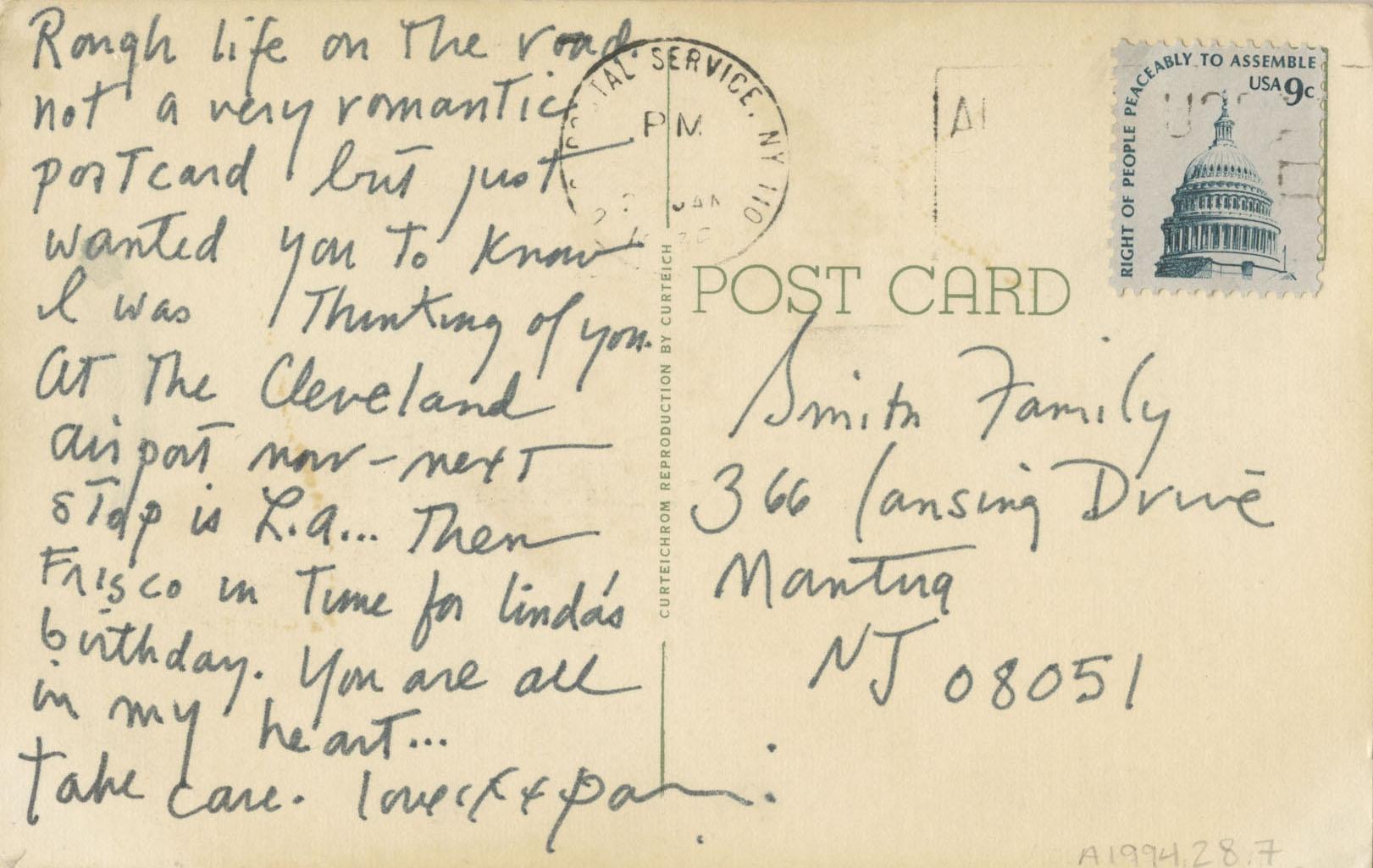 Postcard from Patti Smith