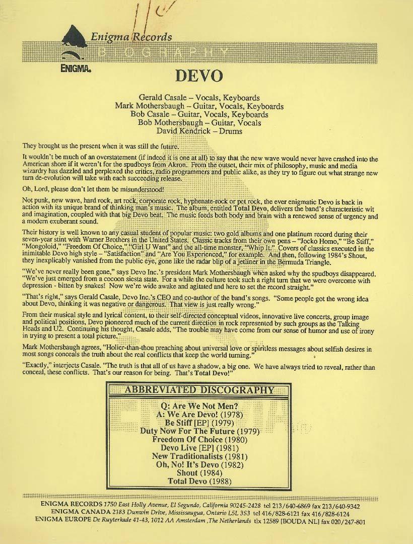Devo press release