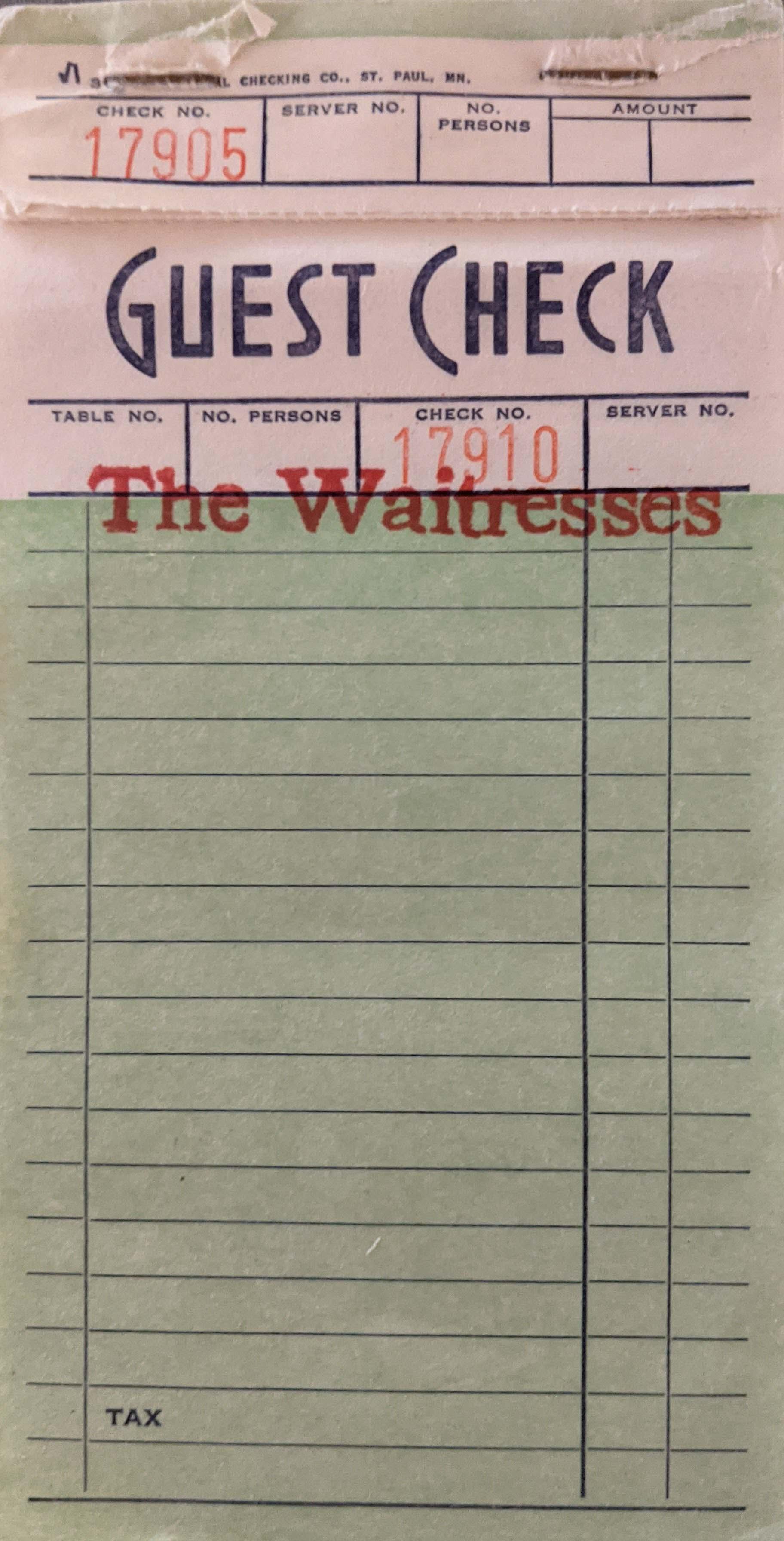 Waitresses promotional guest checks