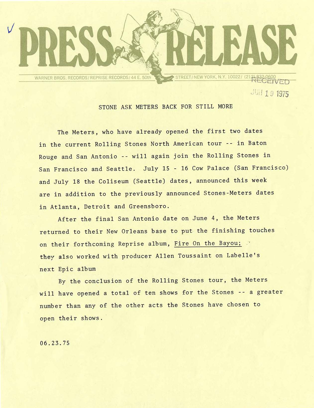 Press release on the Meters and the Rolling Stones