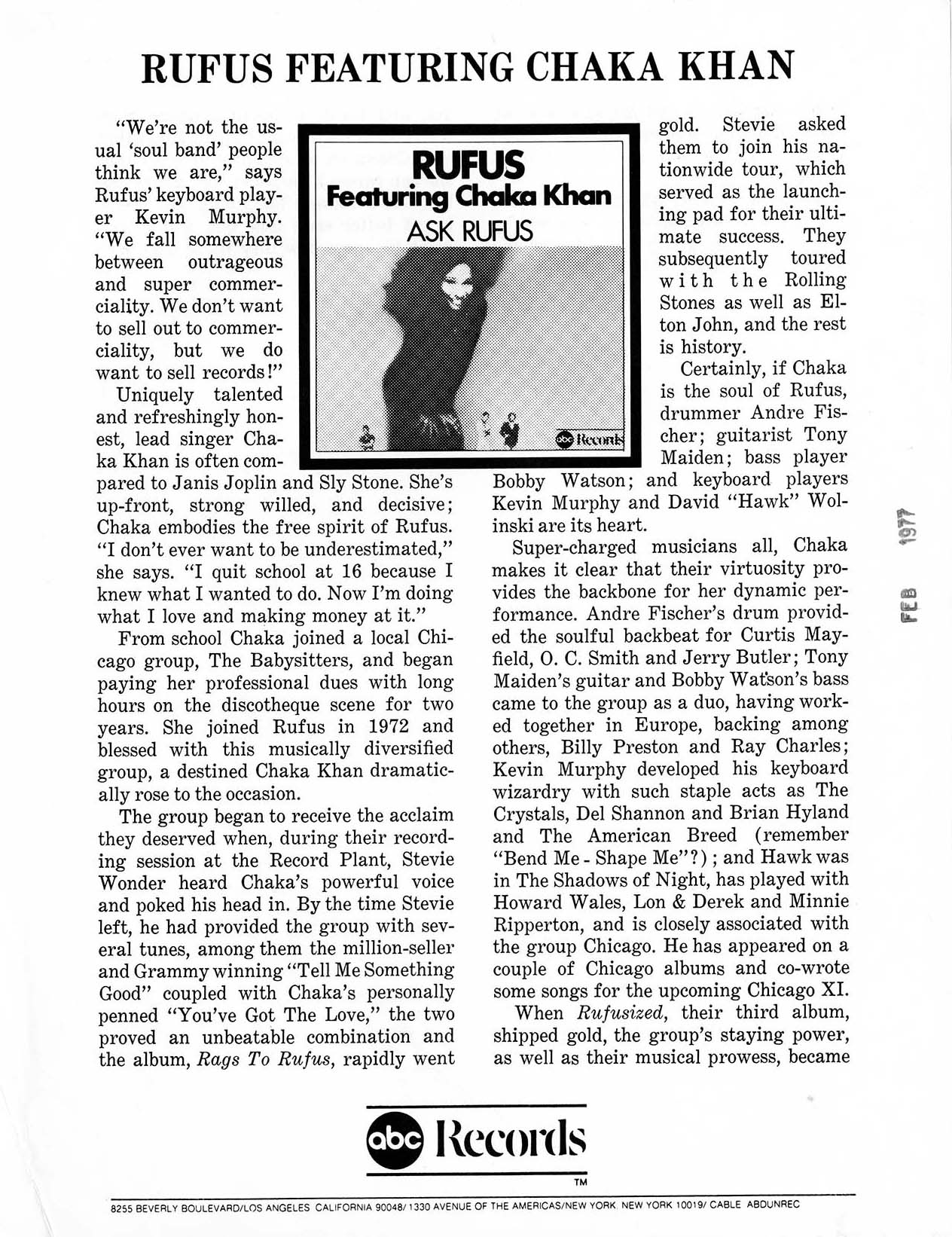 Biographical information on Rufus featuring Chaka Khan