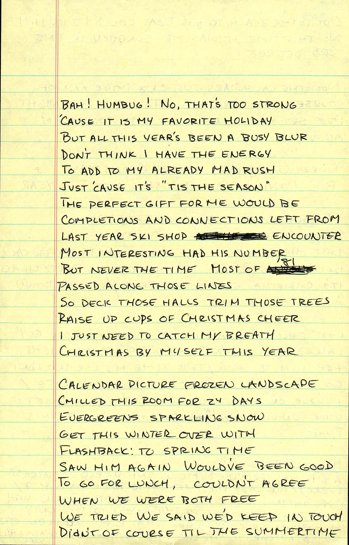 Christmas wrapping handwritten lyrics page 1