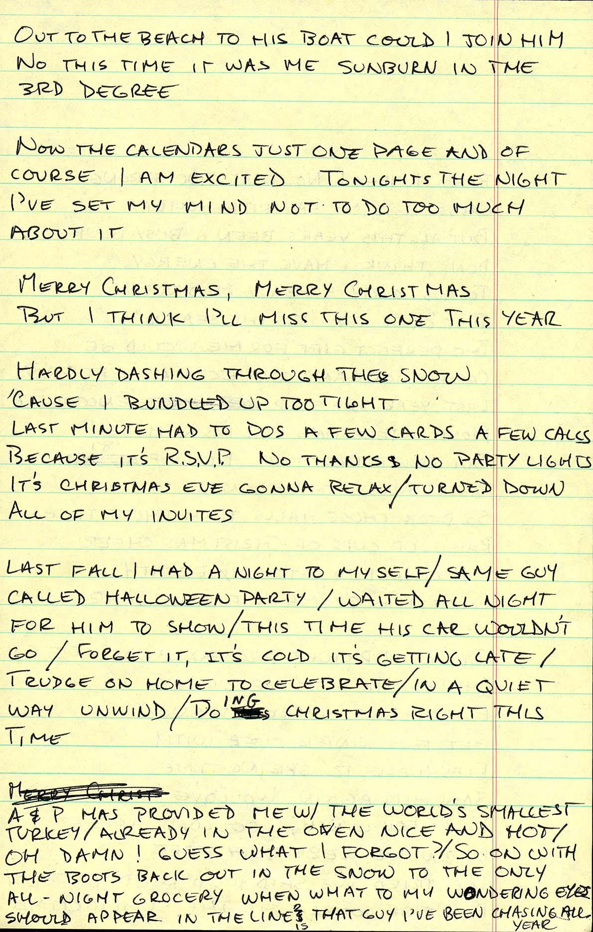 Christmas wrapping handwritten lyrics page 2