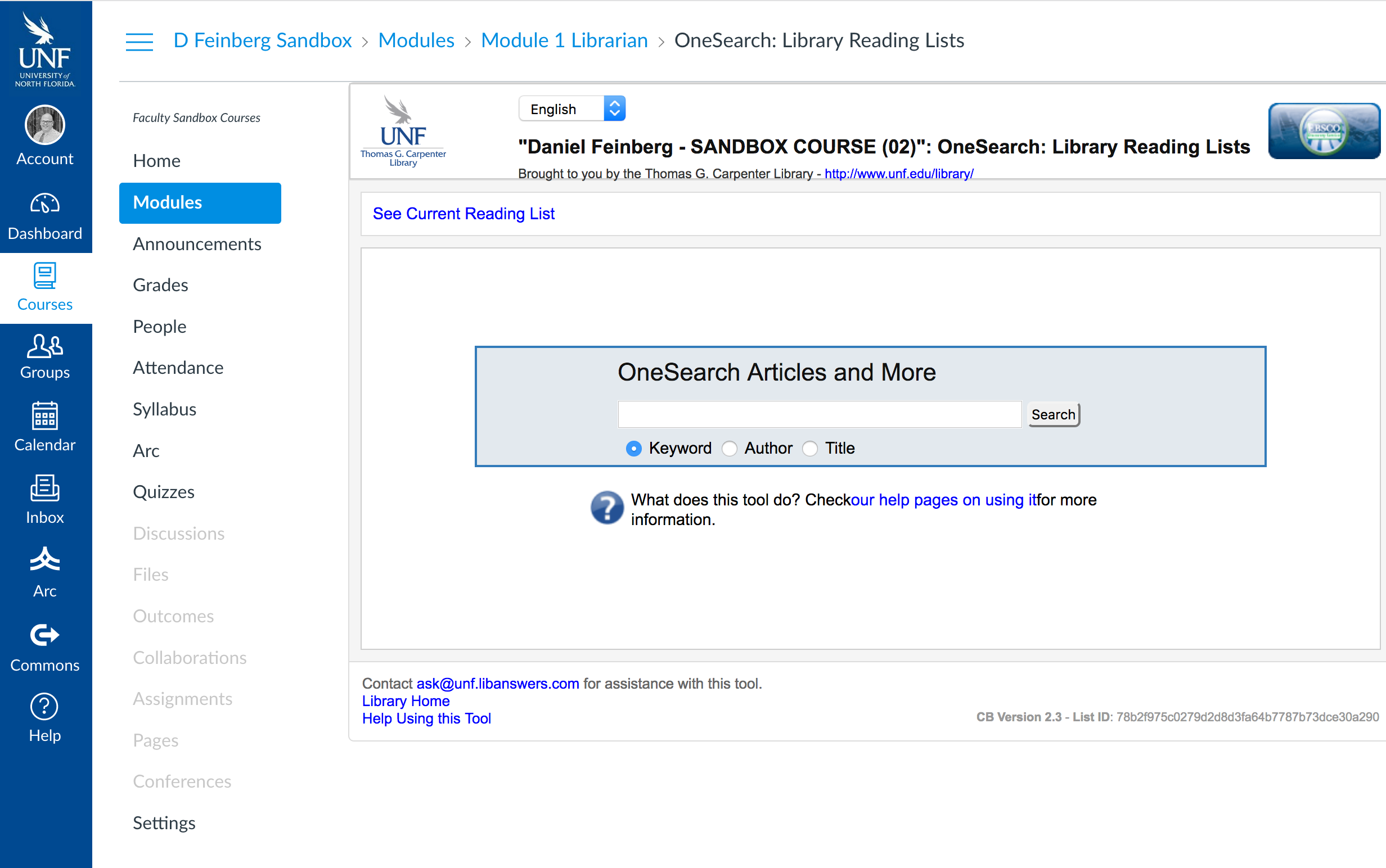 OneSearch Library Reading Lists Look in Canvas
