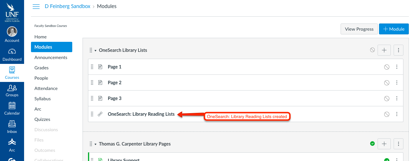 Arrow pointing to the OneSearch; Library Reading Lists that was created