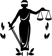 Black drawing of Blind Justice holding balanced scales and a sword.