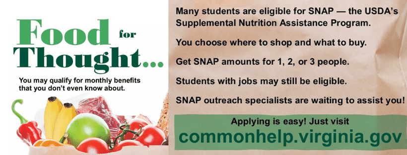 Many students are eligible for SNAP