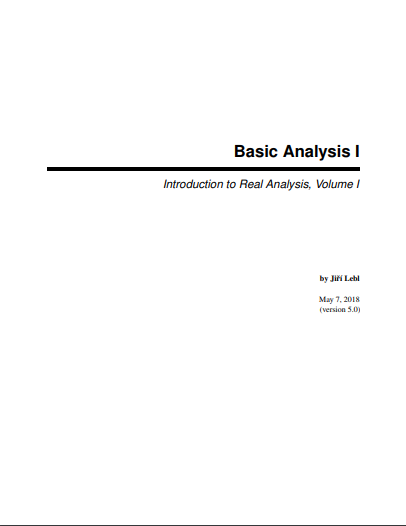 basic analysis I textbook