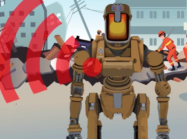 A cartoon robot with a wifi signal