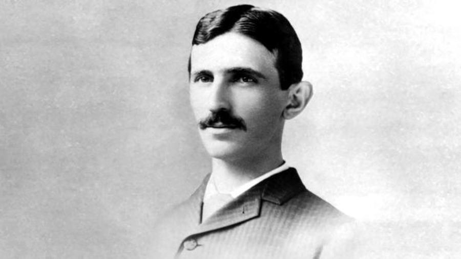 Old photo of Nikola Tesla in black and white