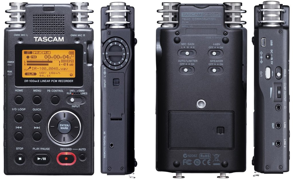 Image of a TASCAM DR-100mkll 2 Portable Digital Audio Recorder