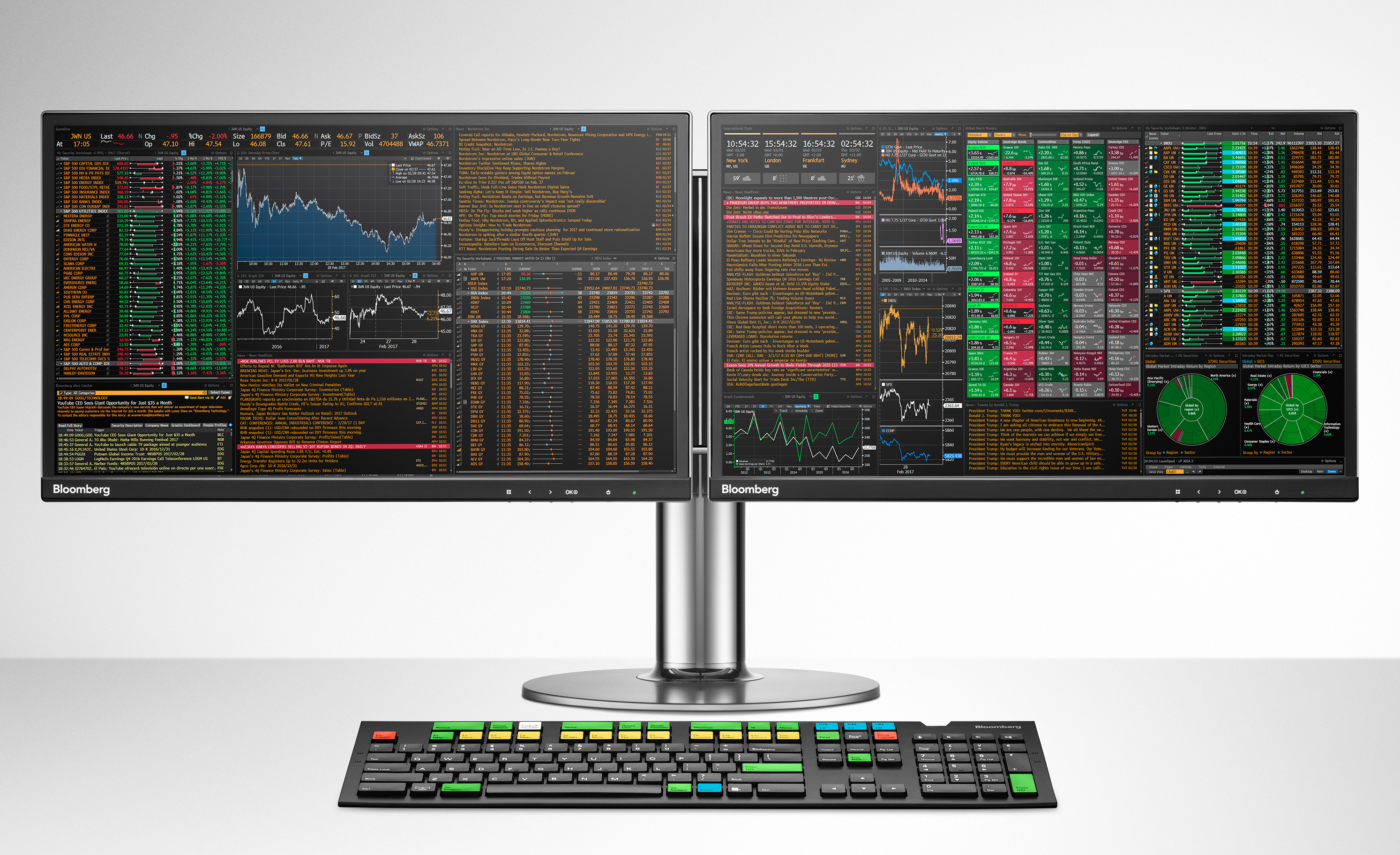 Bloomberg Terminal monitor and keyboard
