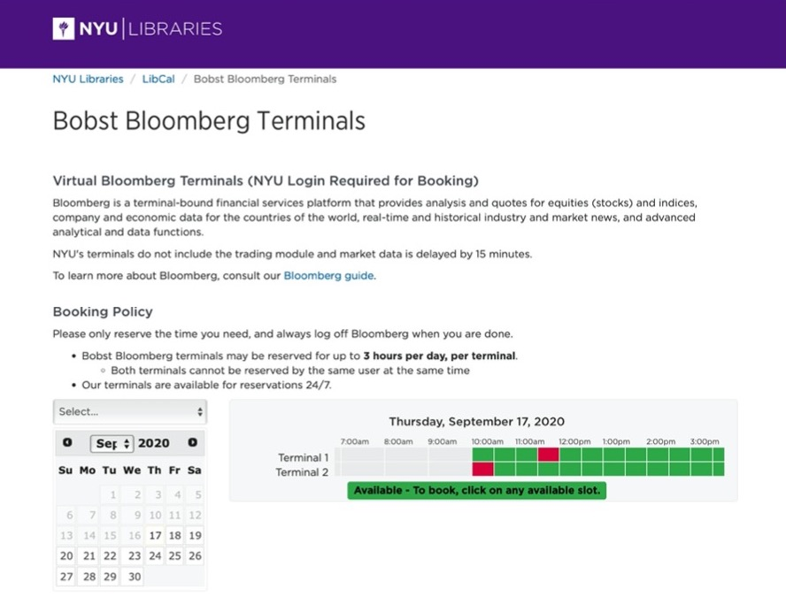 Bloomberg terminal booking interface