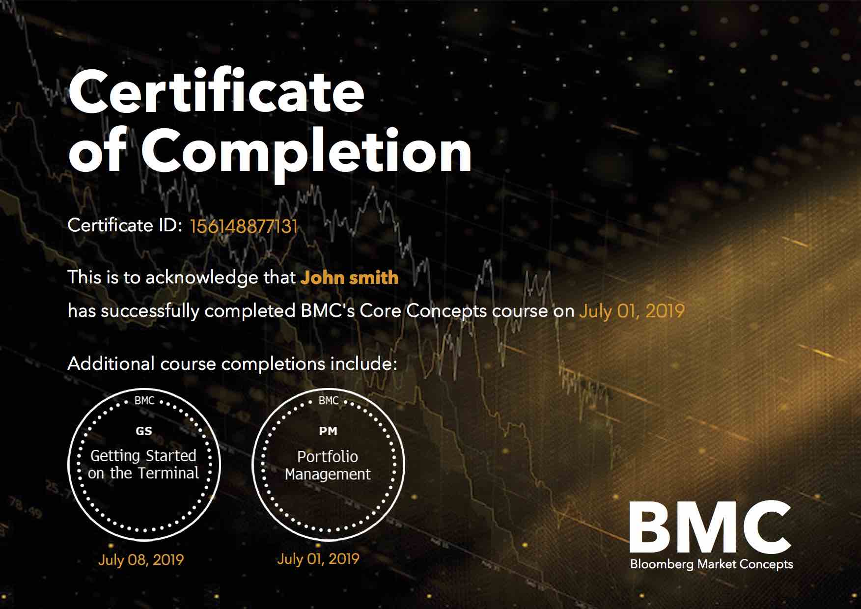 Certification of Completion from BMC image