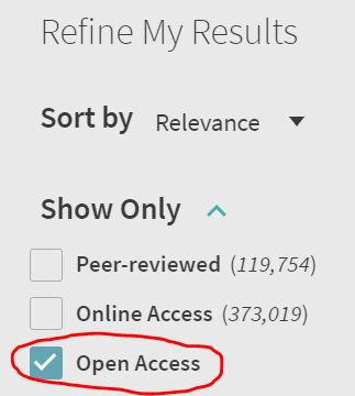 Screenshot of Refine my Results with Open Access circled