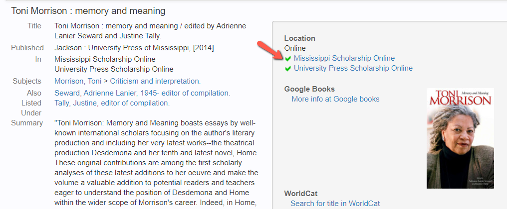 CLIO record with arrow pointing to online book links