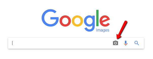 screenshot of google with arrow pointing to camera