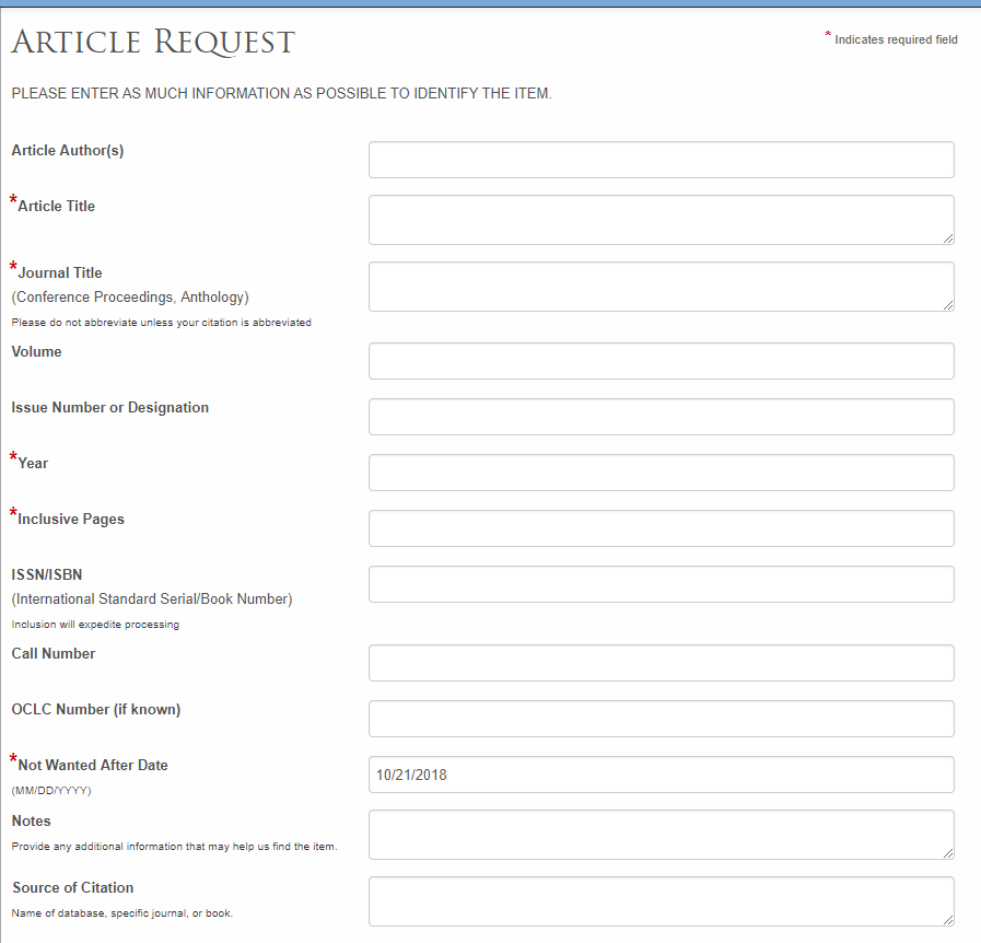 screenshot of interlibrary loan article request form