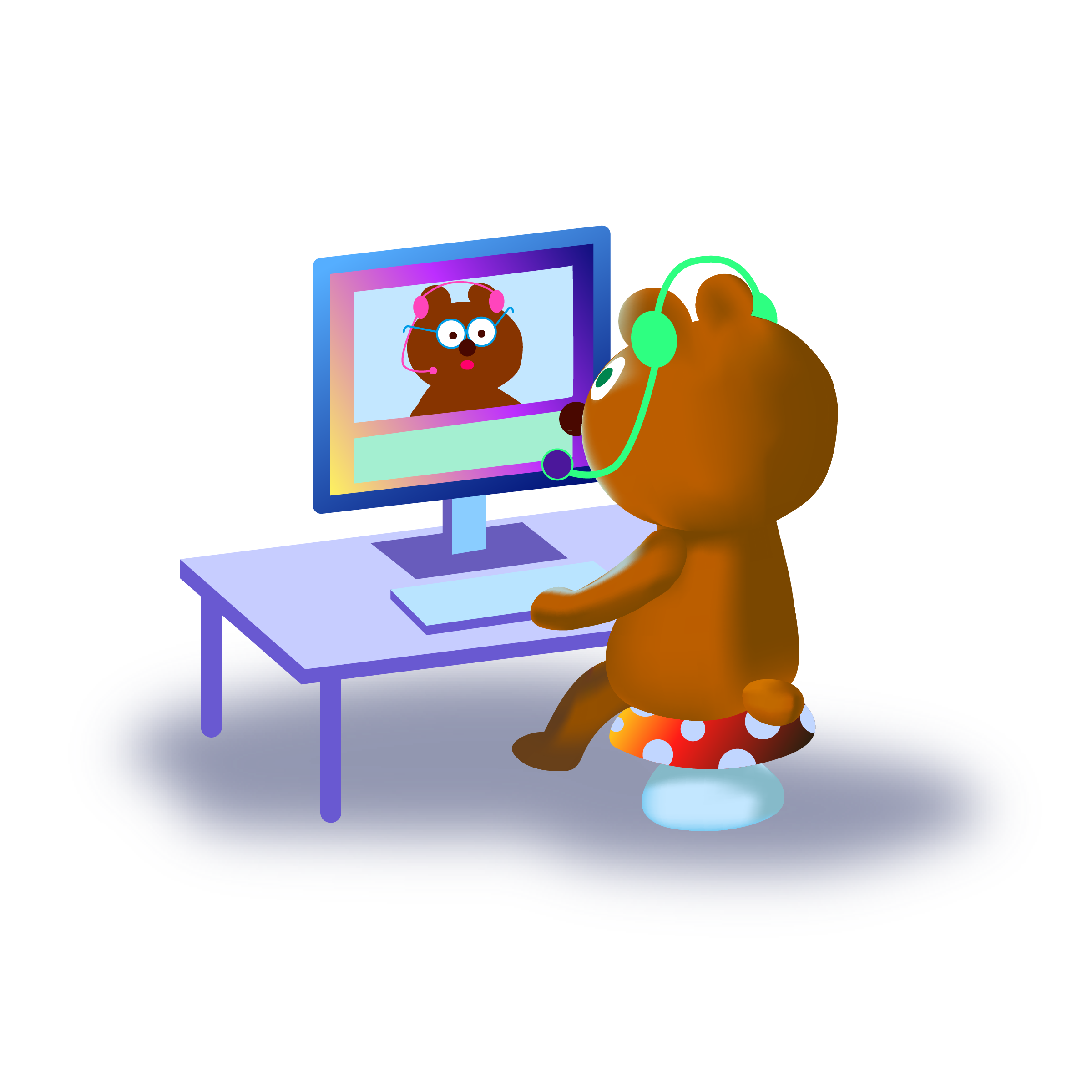 Millie the bear at a computer with a headset, using Zoom with another bear