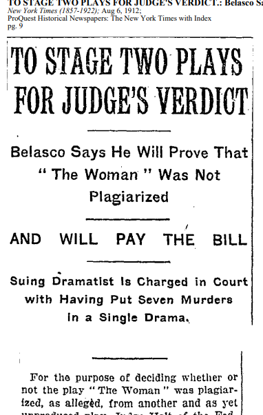"New York times article with large headline ""to stage two plays for judge's verdict"""