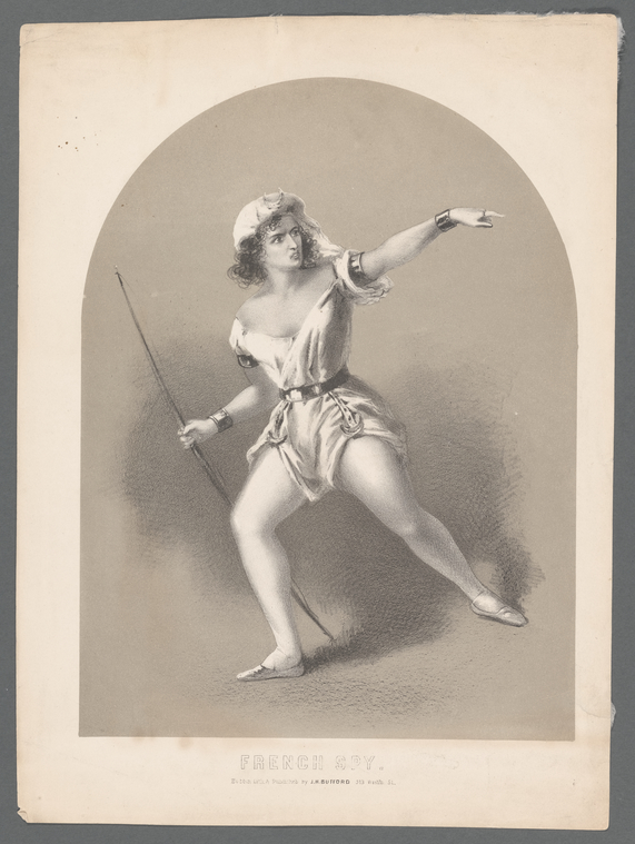 Action drawing of a woman dressed as a man, in a scanty costume that bares her arms and legs. Her hair is partly hidden by a flowing headdress surmounted by a crescent. In her right hand is a bow.