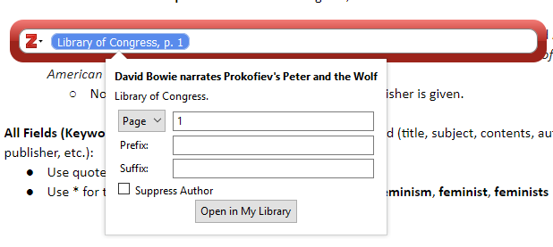 screenshot of entering page example in zotero in google docs