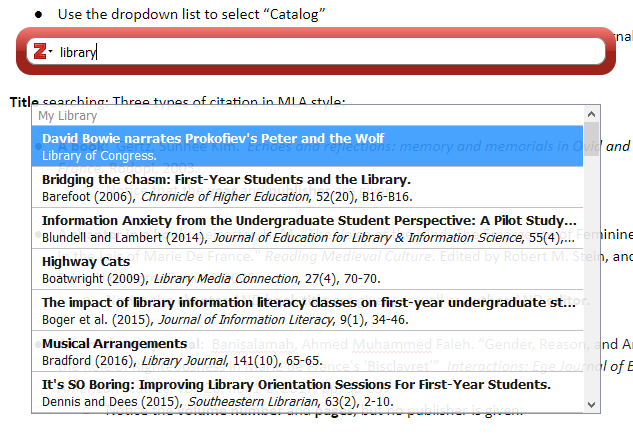 Screenshot showing citation selection in Zotero in google docs
