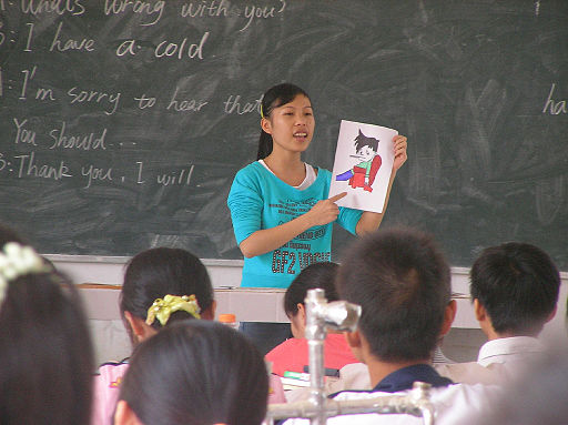 Photograph of student teacher in China