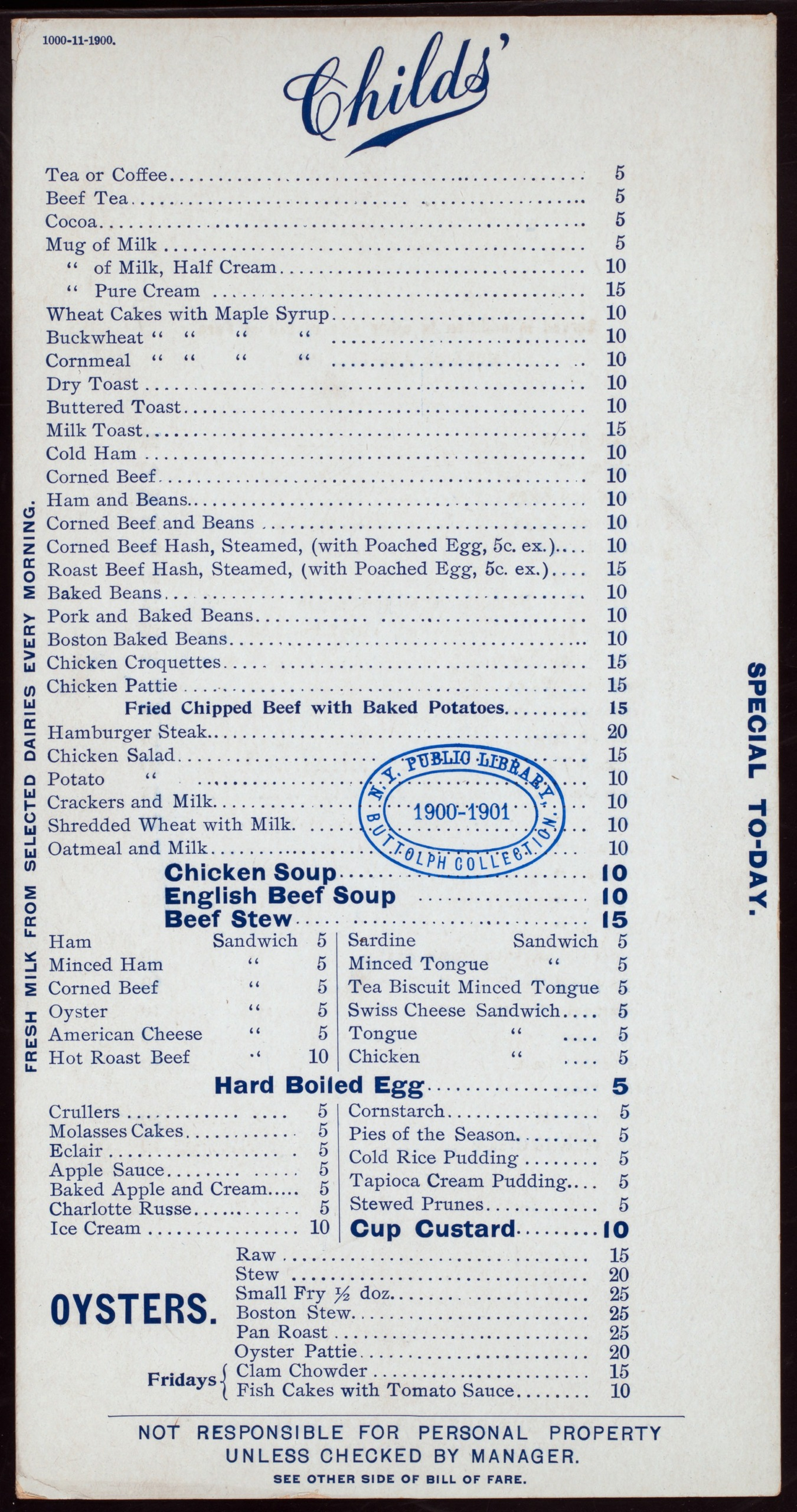1900 Childs' restaurant menu