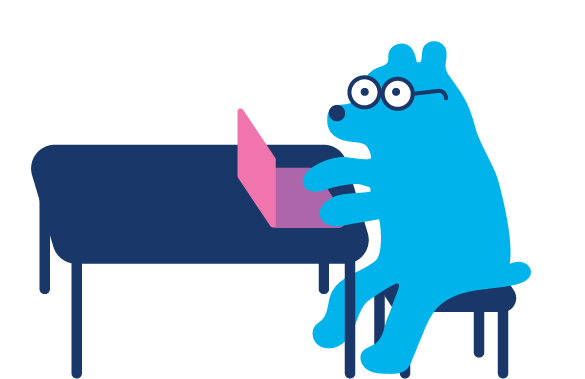 cartoon graphic of a bear wearing glasses, sitting at a blue tabling using a pink laptop