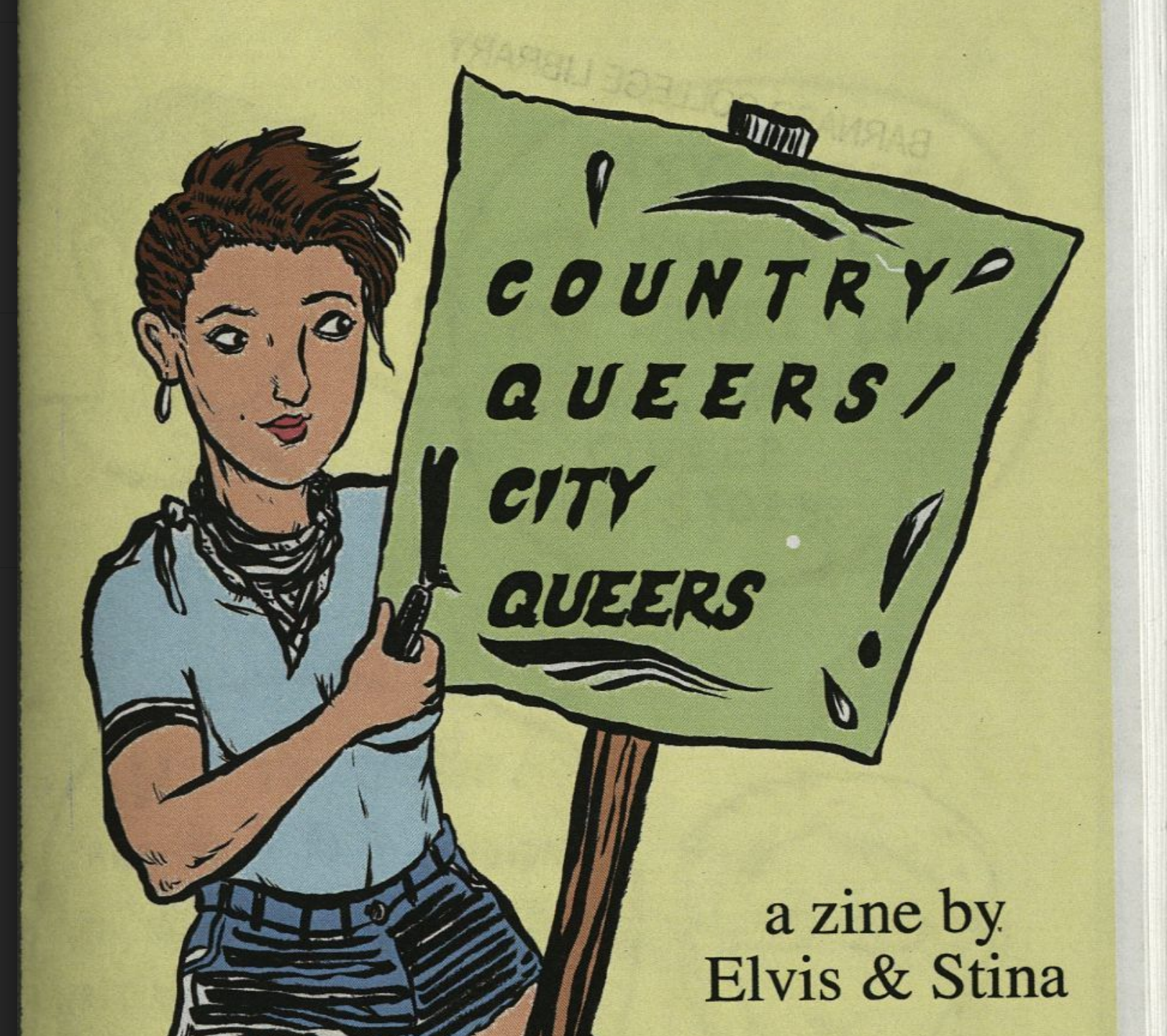 zine cover detail: Country Queers, City Queers. Cartoon depiction of queer person holding a sign with the title on a yellow background.