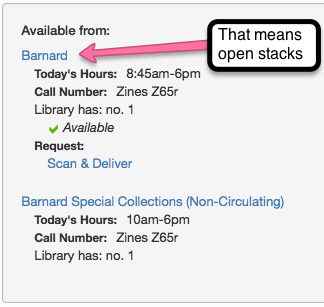 """screenshot of catalog record close up with an arrow pointing at """"Barnard"""" vs no arrow pointing at """"Barnard Special Collections"""" to indicate the difference between the two"""