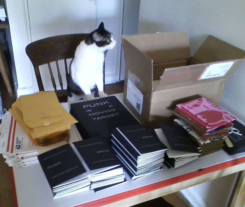 photo of a cat with an open box and a pile of zines